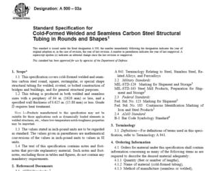 ASTM A 500 – 03a international standard